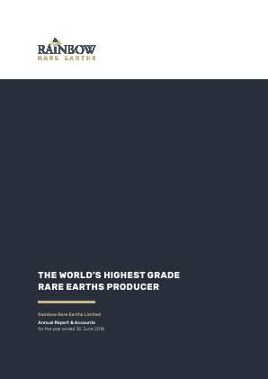Rainbow Rare Earths annual report 2018