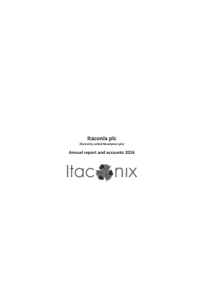 Itaconix (previously Revolymer Plc) annual report 2016