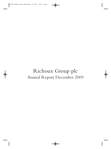 Richoux Group Plc annual report 2009