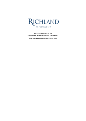 Richland Resources annual report 2016