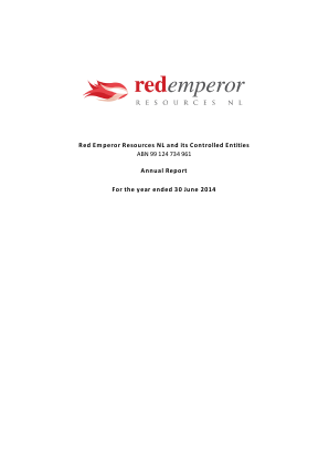 Red Emperor Resources NL annual report 2014