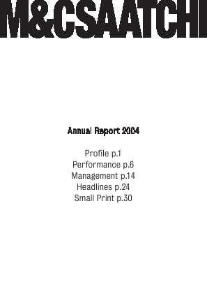 M&C Saatchi annual report 2004
