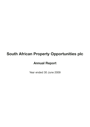 South African Property Opps Plc annual report 2009