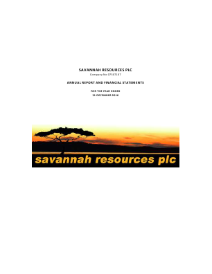 Savannah Petroleum Plc annual report 2016