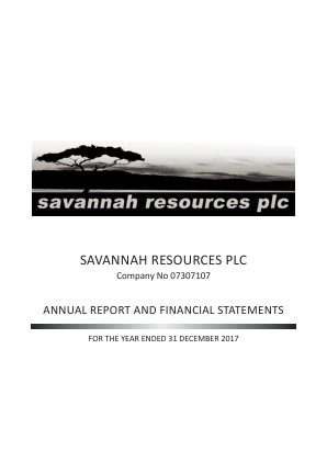 Savannah Petroleum Plc annual report 2017