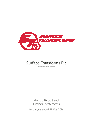 Surface Transforms Plc annual report 2016