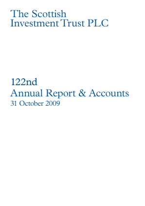 Scottish Investment Trust annual report 2009