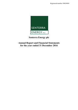 United Oil & Gas (Previously Senterra Energy) annual report 2016