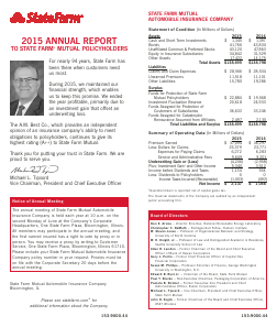 State Farm Insurance Cos annual report 2015