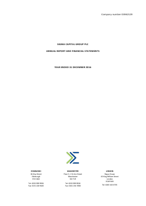 Sigma Capital Group Plc annual report 2016