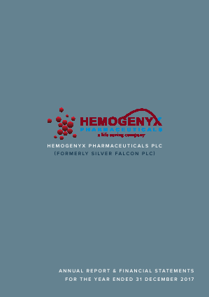 Hemogenyx Pharmaceuticals (Previously Silver Falcon) annual report 2017