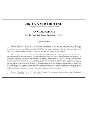 Sirius XM Holdings Inc. annual report 2016