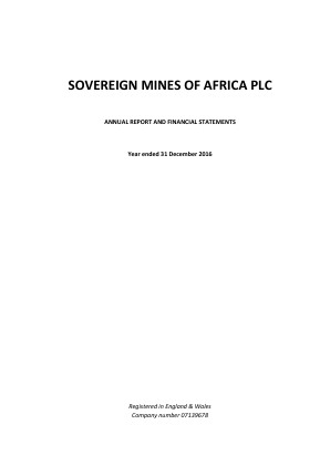 Sovereign Mines Of Africa Plc annual report 2016