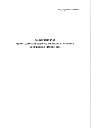 Uvenco (Previously Snacktime Plc) annual report 2014