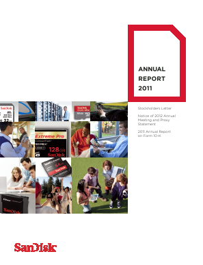 SanDisk Corporation (acquired by Western Digital Corporation (NASDAQ: WDC) ) annual report 2011