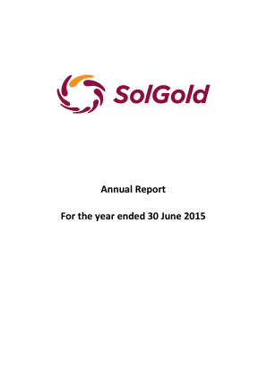 Solgold Plc annual report 2015