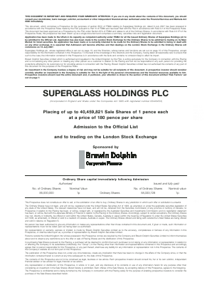 Superglass Holdings Plc annual report 2008