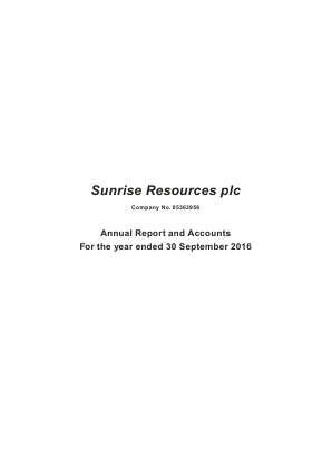 Sunrise Resources Plc annual report 2016