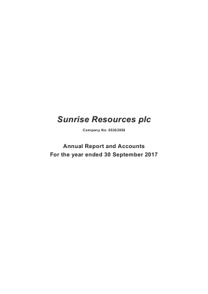 Sunrise Resources Plc annual report 2017