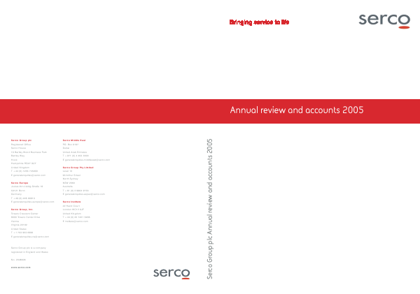 Serco Group annual report 2005