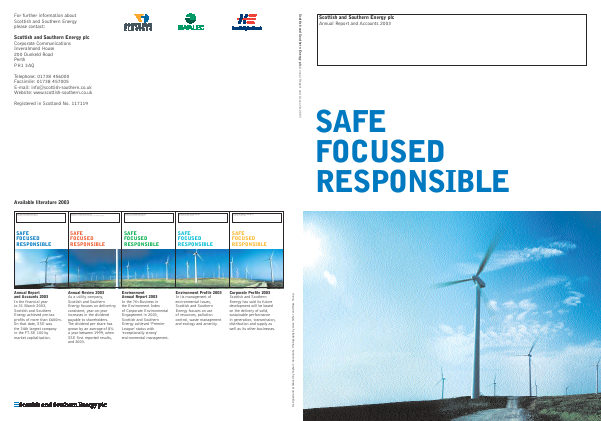 Sse Plc annual report 2003