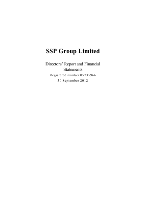 SSP Group Plc annual report 2012