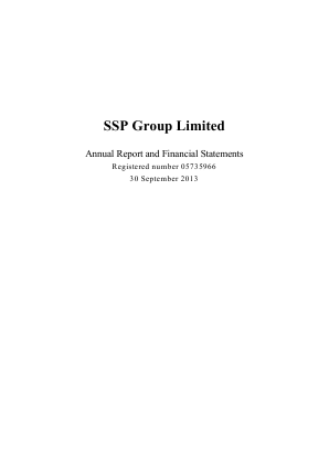 SSP Group Plc annual report 2013