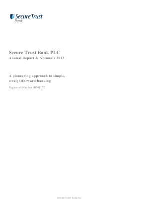 Secure Trust Bank Plc annual report 2013