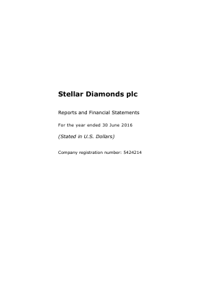 Stellar Diamonds Plc annual report 2016