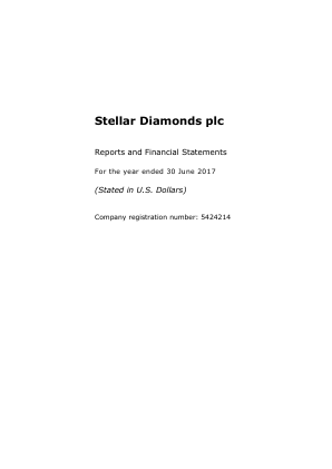 Stellar Diamonds Plc annual report 2017