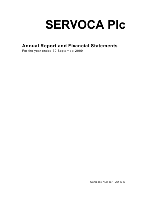 Servoca Plc annual report 2009