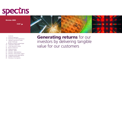 Spectris annual report 2003