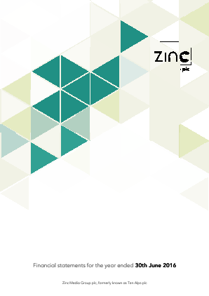 Zinc Media (Previously Ten Alps) annual report 2016