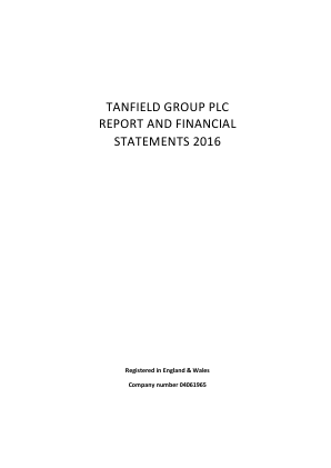 Tanfield Group annual report 2016
