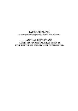 Tau Capital Plc annual report 2014