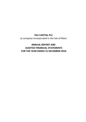 Tau Capital Plc annual report 2016