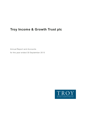 Troy Income & Growth Trust Plc annual report 2013