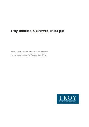 Troy Income & Growth Trust Plc annual report 2016