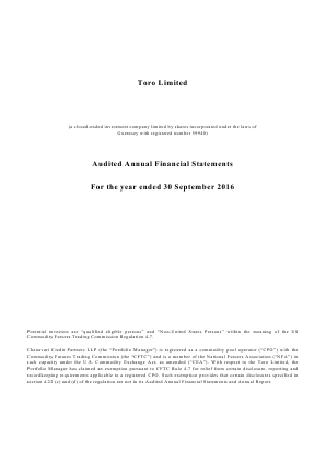 Chenavari Toro Income Fund (Previously Toro ) annual report 2016