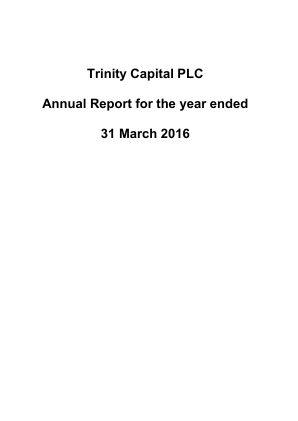 Trinity Capital Plc annual report 2016