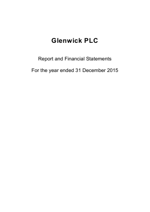 Glenwick plc (formally Treveria Plc) annual report 2015