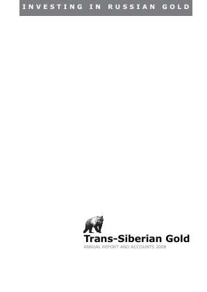 Trans-siberian Gold Plc annual report 2008