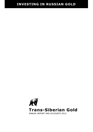 Trans-siberian Gold Plc annual report 2012