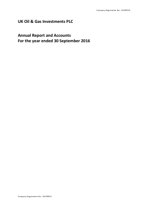 UK Oil & Gas Investments Plc annual report 2016