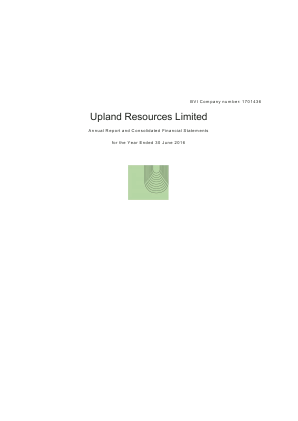 Upland Resources annual report 2016