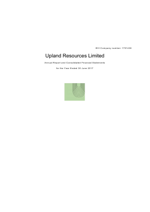 Upland Resources annual report 2017