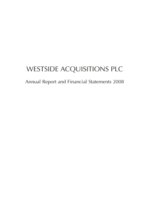 Ultimate Sports Group (Westside Investments Plc) annual report 2008