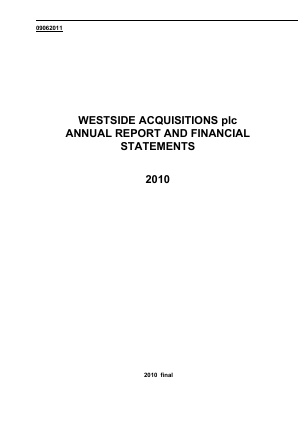 Ultimate Sports Group (Westside Investments Plc) annual report 2010