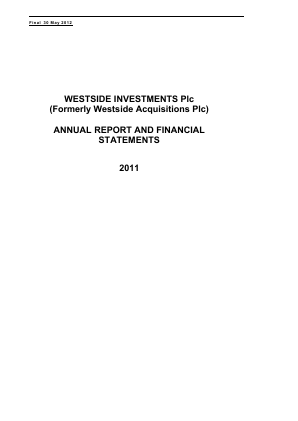 Ultimate Sports Group (Westside Investments Plc) annual report 2011