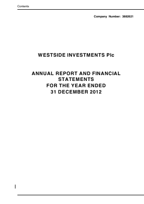 Ultimate Sports Group (Westside Investments Plc) annual report 2012